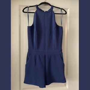 NWT One Clothing Naby Blue Halter Romper Pockets